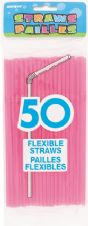 50 Neon Pink Flexible Drinking Straws